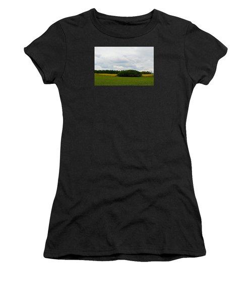 Women's T-Shirt (Junior Cut) featuring the photograph Between The Fields by Lyle Crump