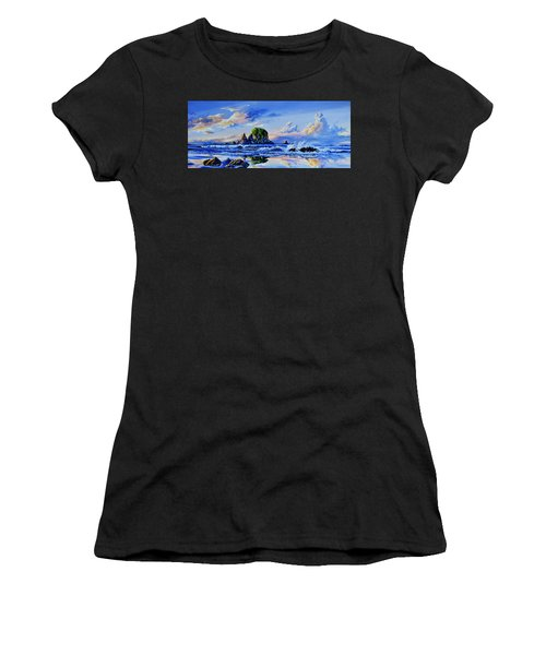 Women's T-Shirt (Athletic Fit) featuring the painting Beyond The Shore by Hanne Lore Koehler