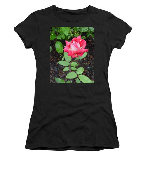 Bi-colored Rose In Rain Women's T-Shirt (Athletic Fit)