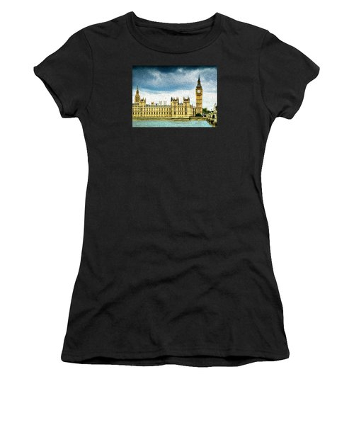 Big Ben And Houses Of Parliament With Thames River Women's T-Shirt
