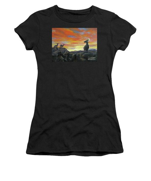Big Horn Sheep At Sunset Women's T-Shirt