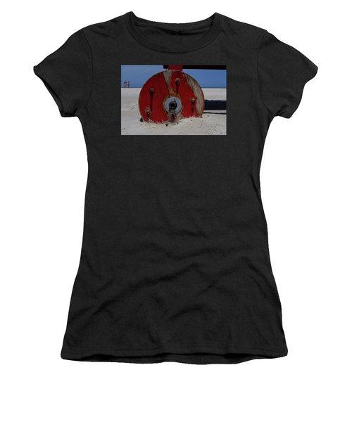 Big Red Wheel On The Beach In Daytona Florida Women's T-Shirt