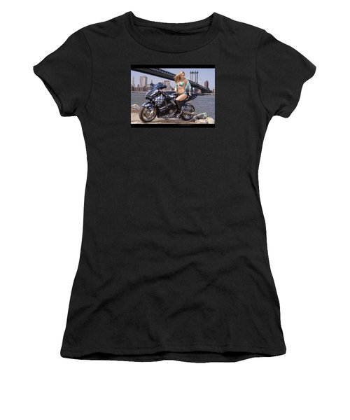 Bike, Babe, And Bridge In The Big Apple Women's T-Shirt (Junior Cut) by Lawrence Christopher