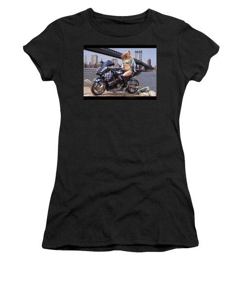 Bike, Babe, And Bridge In The Big Apple Women's T-Shirt