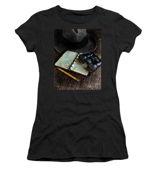 Binoculars Fedora And Notebook Women's T-Shirt (Junior Cut) by Jill Battaglia