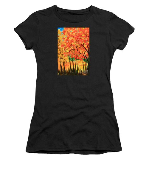 Birch Tree /autumn Leaves Women's T-Shirt (Athletic Fit)