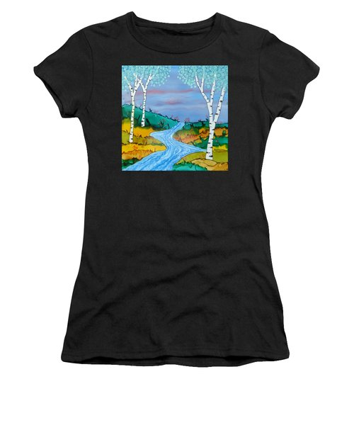 Birch Trees And Stream Women's T-Shirt (Athletic Fit)