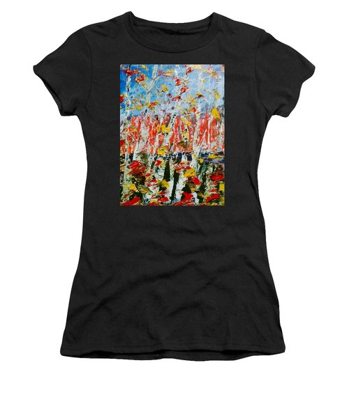 Birch With Foilage - Fall Women's T-Shirt (Athletic Fit)