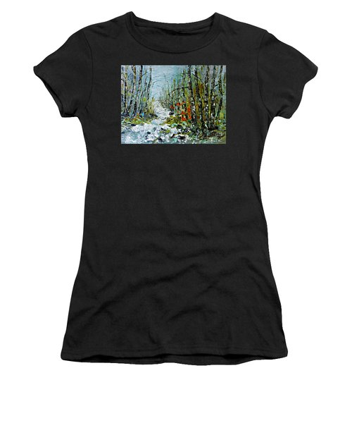 Women's T-Shirt (Junior Cut) featuring the painting Birches Near Waterfall by AmaS Art