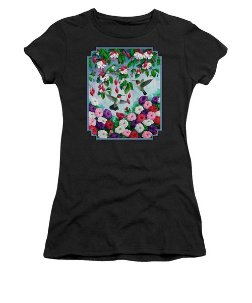 Bird Painting Hummingbird And Spring Flowers Women's T-Shirt