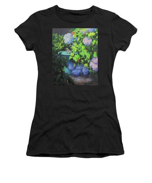 Birdbath And Blossoms Women's T-Shirt (Athletic Fit)