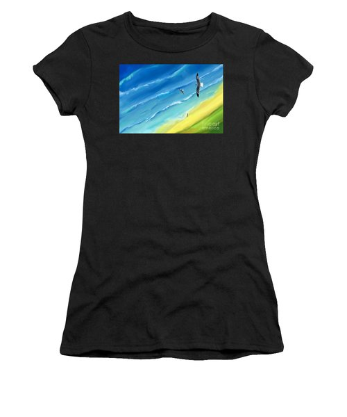 Bird's-eye Above Sea Women's T-Shirt (Athletic Fit)