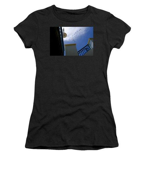 Birds In Formation Over The Boardwalk At Daytona Beach Florida Women's T-Shirt