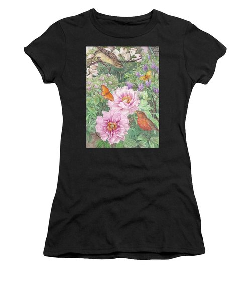 Birds Peony Garden Illustration Women's T-Shirt (Athletic Fit)