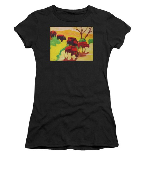 Bison Art Bison Crossing Stream Yellow Hill Painting Bertram Poole Women's T-Shirt (Athletic Fit)