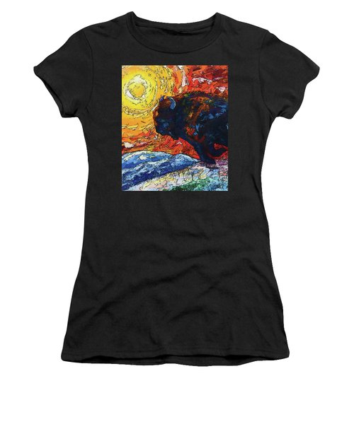 Women's T-Shirt (Athletic Fit) featuring the painting Bison Running Print Of Olena Art Wild The Storm Oil Painting With Palette Knife  by OLena Art Brand