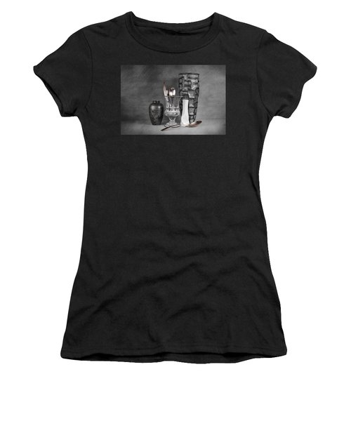 Black And White Composition Women's T-Shirt (Athletic Fit)