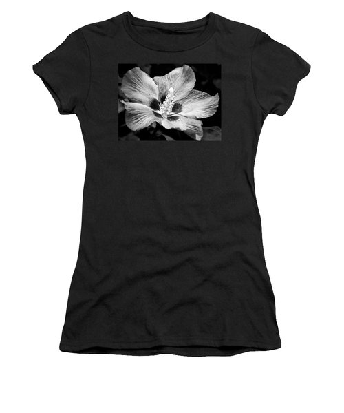 Women's T-Shirt (Junior Cut) featuring the photograph Black And White Hibiscus  by Karen Stahlros