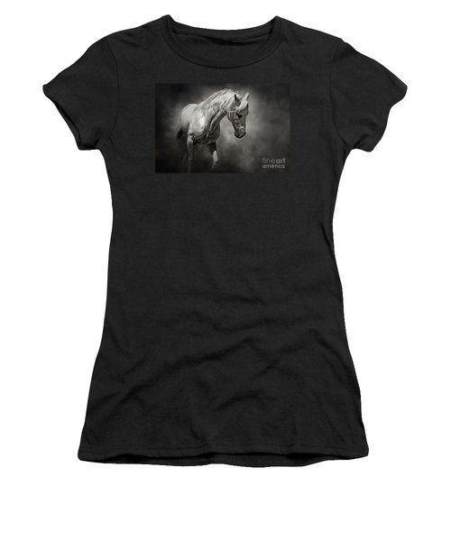 Black And White Horse - Equestrian Art Poster Women's T-Shirt