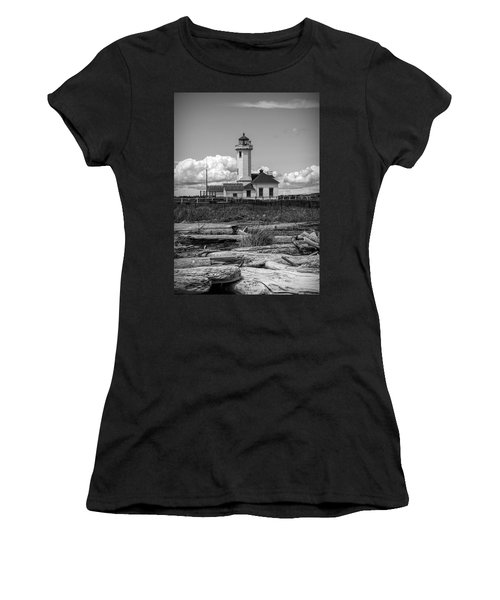 Black And White Lighthouse With Driftwood Women's T-Shirt