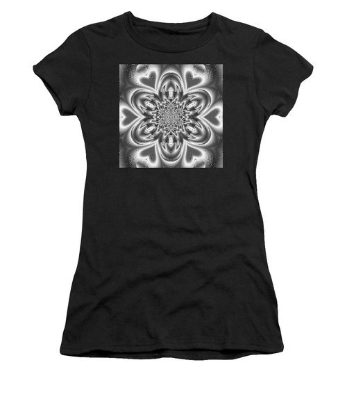 Women's T-Shirt featuring the digital art Black And White Mandala 9 by Robert Thalmeier