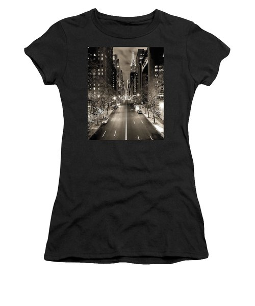 Black And White New York Women's T-Shirt (Athletic Fit)