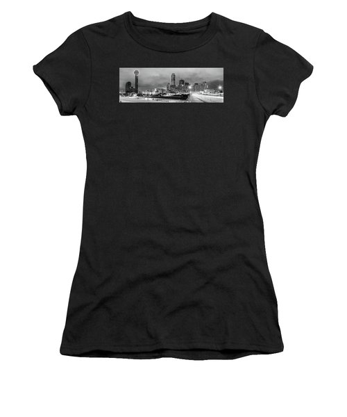 Black And White Panorama Of Downtown Dallas Skyline From South Houston Street - Dallas North Texas Women's T-Shirt