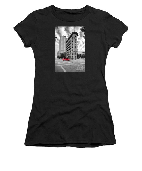 Black And White Photograph Of The Flatiron Building In Downtown Fort Worth - Texas Women's T-Shirt (Athletic Fit)