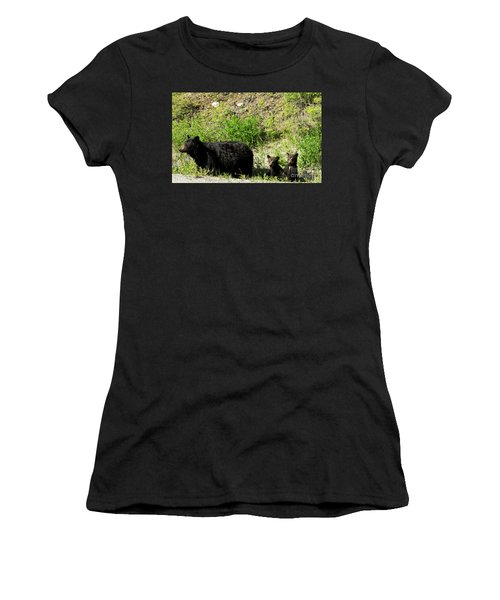 Black Bear Family Women's T-Shirt (Athletic Fit)