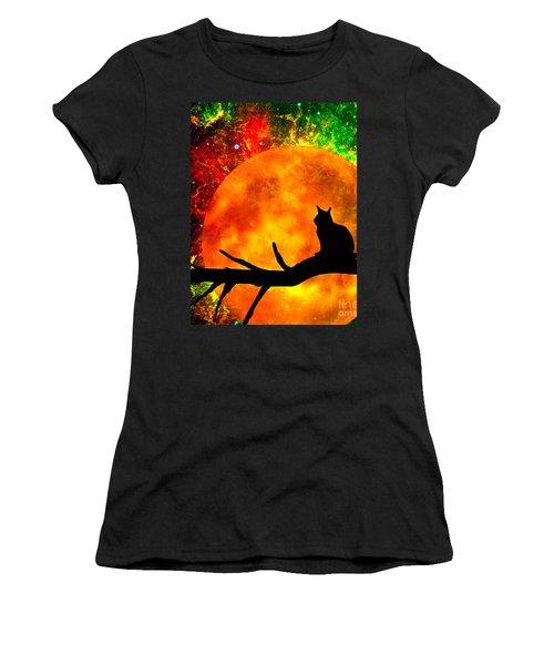 Black Cat Harvest Moon Women's T-Shirt (Athletic Fit)