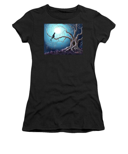 Black Cat In A Haunted Tree Women's T-Shirt (Athletic Fit)