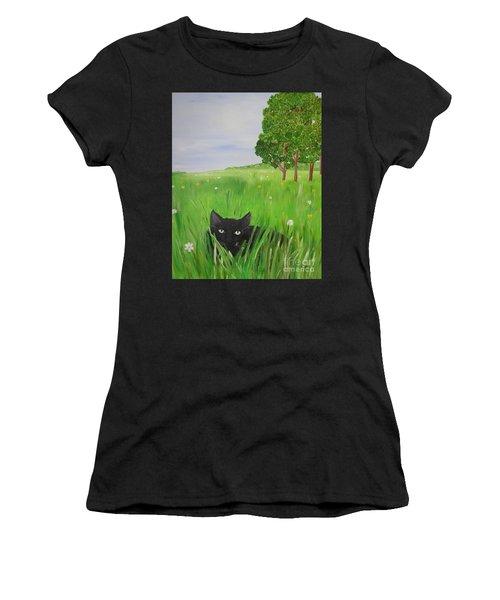 Black Cat In A Meadow Women's T-Shirt