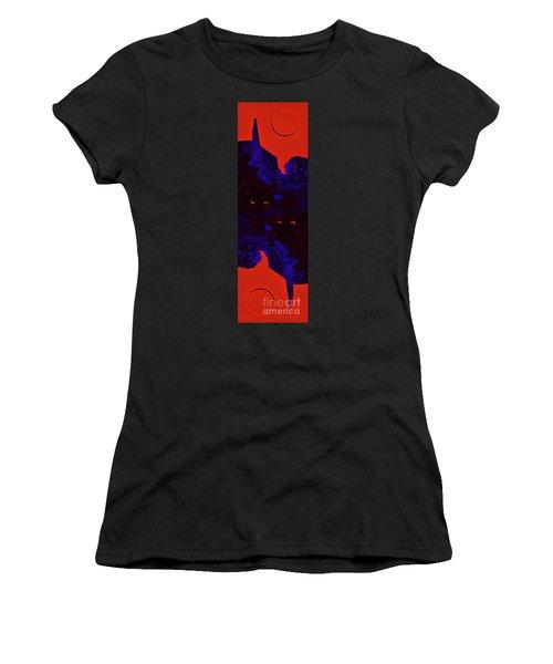 Black Cat Under A Blood Red Moon Women's T-Shirt