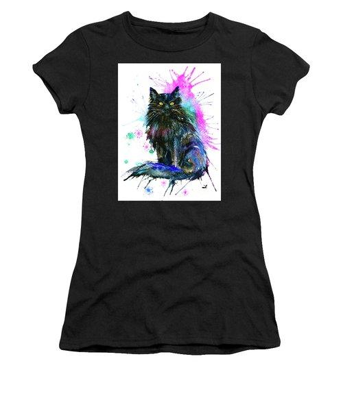 Women's T-Shirt (Athletic Fit) featuring the painting Black Cat by Zaira Dzhaubaeva