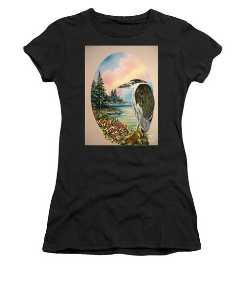 Flying Lamb Productions                     Black Crowned Heron Women's T-Shirt