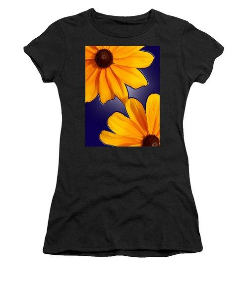 Black-eyed Susans On Blue Women's T-Shirt (Athletic Fit)