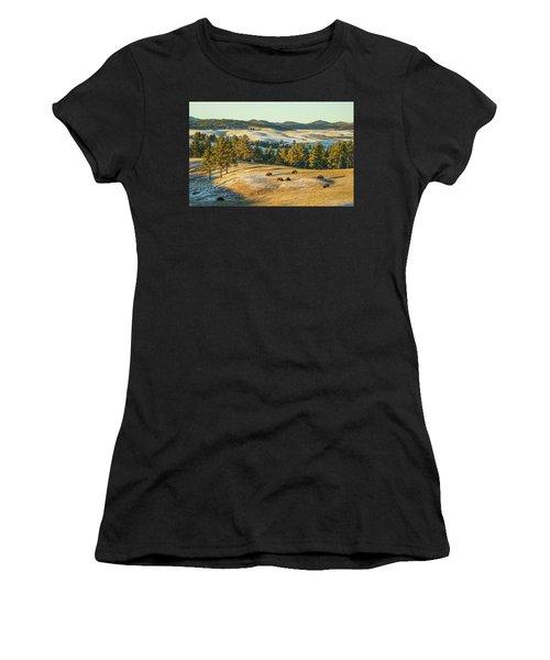 Women's T-Shirt featuring the photograph Black Hills Bison Before Sunset by Bill Gabbert