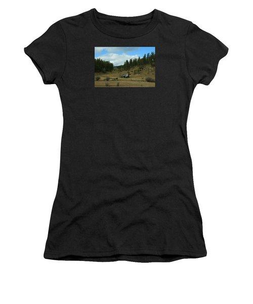Black Hills Broken Down Cabin Women's T-Shirt (Junior Cut) by Christopher Kirby