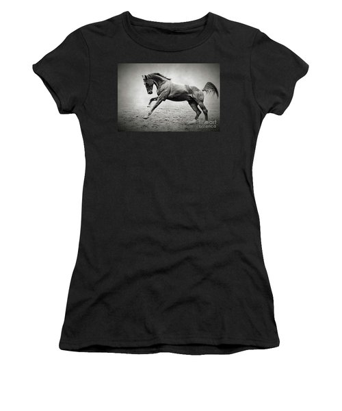 Black Horse In Dust Women's T-Shirt (Athletic Fit)