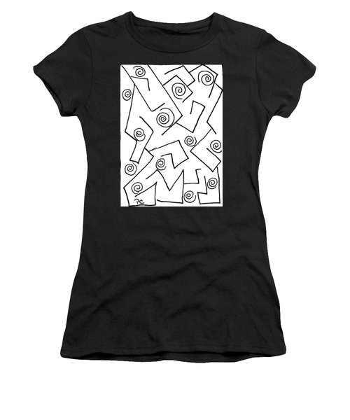 Black Ink Abstract Women's T-Shirt (Junior Cut) by Patricia Cleasby