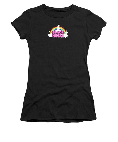 Black Metal Funny Unicorn / Rainbow Mosh Parody Design Women's T-Shirt (Junior Cut) by Philipp Rietz