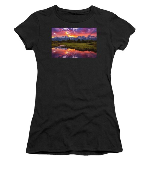 Black Ponds Sunset Women's T-Shirt (Athletic Fit)