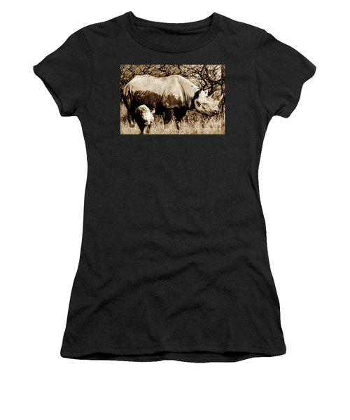 Black Rhino And Youngster Women's T-Shirt (Athletic Fit)