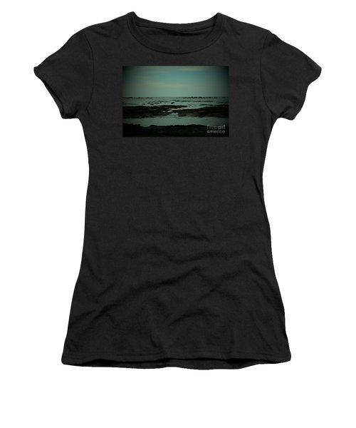 Black Rock Beach Women's T-Shirt (Junior Cut) by Mini Arora