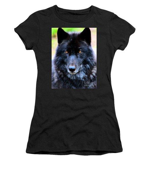 Black Wolf Women's T-Shirt (Athletic Fit)