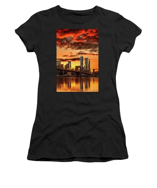 Blazing Manhattan Skyline Women's T-Shirt (Athletic Fit)