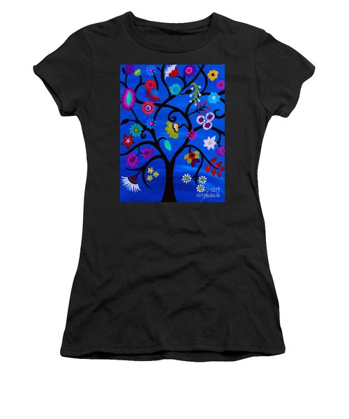 Women's T-Shirt (Athletic Fit) featuring the painting Blessed Tree Of Life by Pristine Cartera Turkus