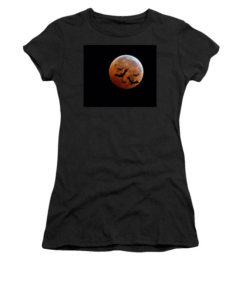 Blood Full Moon And Bats Women's T-Shirt