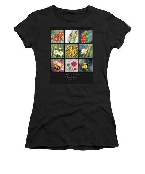 Women's T-Shirt (Junior Cut) featuring the painting Blooming Cactus by Marilyn Smith