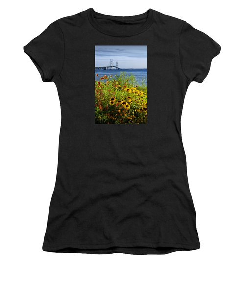 Blooming Flowers By The Bridge At The Straits Of Mackinac Women's T-Shirt